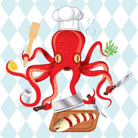 sushi roll: Illustrazione vettoriale di cucina sushi in Giappone polpi e pesce Vettoriali