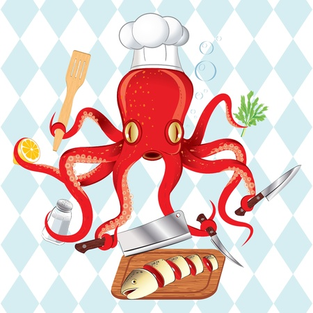 Vector illustration of Japan octopus cooking sushi and fish