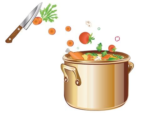 steel pan: Cortar las verduras y preparar una deliciosa sopa Vectores