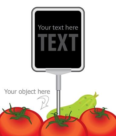 melden bij het prijskaartje voor de markt en op te slaan met tomaten Stock Illustratie