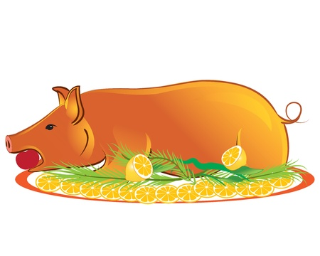 Delicious roasted piglet isolated on white background Vector