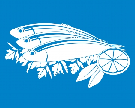 mackerel: illustration of fresh fish and lemon on the the background