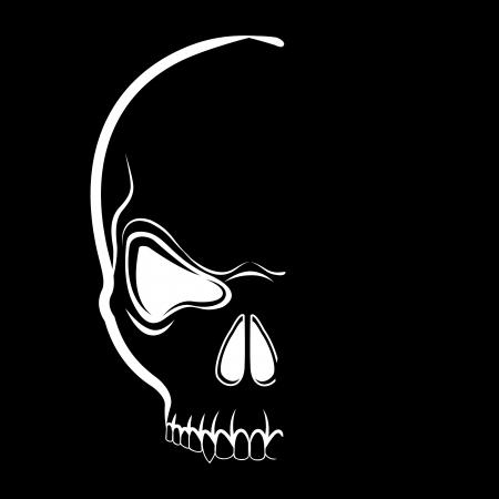 skull tattoo: schedel t-shirt design in de schaduw op de zwarte achtergrond