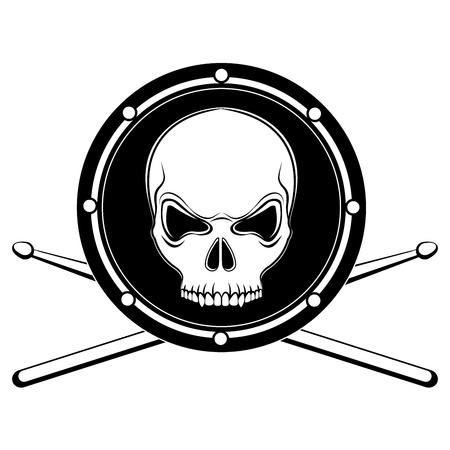 Jolly Roger cráneo de tambor con los palillos aisladas sobre fondo blanco