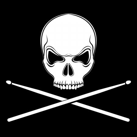 Jolly Roger schedel met drumsticks op de zwarte achtergrond Stock Illustratie