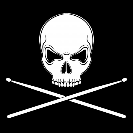 drumsticks: jolly Roger skull with drumsticks on the black background Illustration
