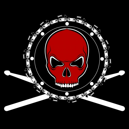 tshirt design with red skull on chainsaw drum Stock Vector - 14073843