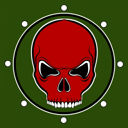 red skull drum on the khaki background Vector