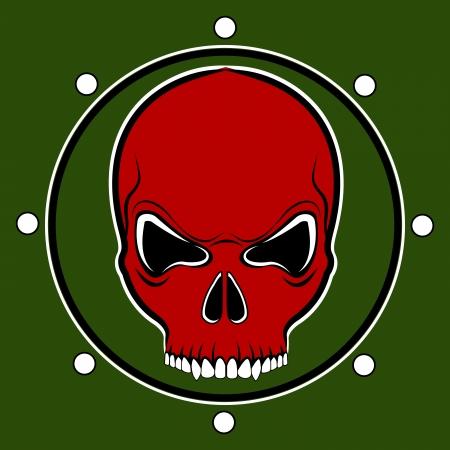 nightmare: red skull drum on the khaki background Illustration