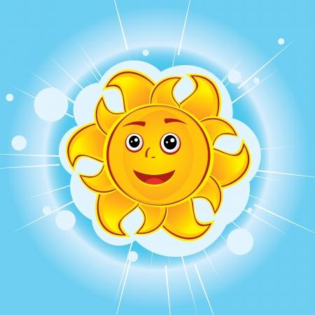 Grappig cartoon zon op de blauwe hemel Stock Illustratie
