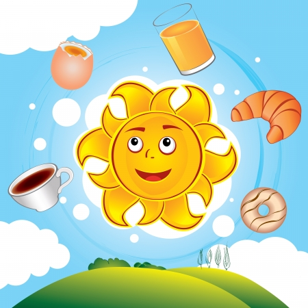 Happy cartoon sun cooked breakfast over the hills Иллюстрация