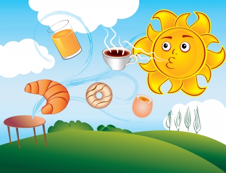 cartoon sun enjoys a new morning and breakfast Vector