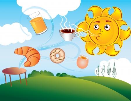 light breakfast: cartoon sun enjoys a new morning and breakfast Illustration