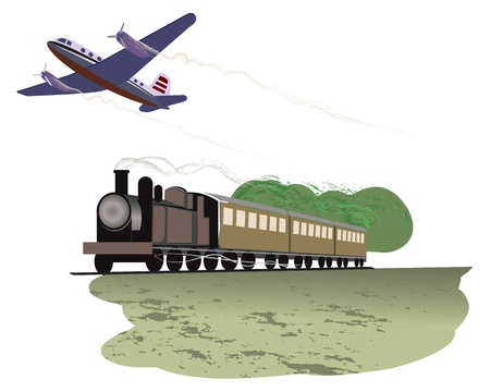 steam jet: illustration of travel by train and plane