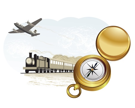 steam jet: illustration of travel by train and plane. Compass