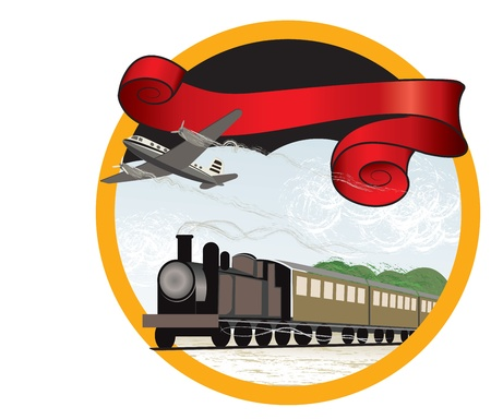 steam jet: Vector banner illustration of travel by train and plane