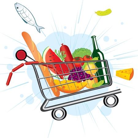 おいしい食べ物のトロリー、スーパー マーケットから飛ぶ
