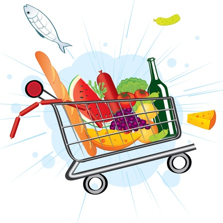 Trolley full of delicious food flies from the supermarket Illustration