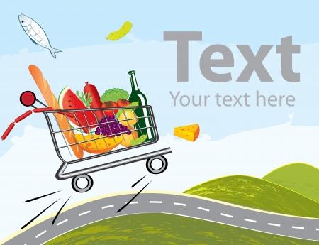 pane e vino: trolley pieno di cibo delizioso di guida su strada