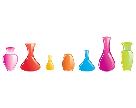 白い背景で隔離の色の花瓶アイコンのセットのイラスト