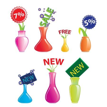 illustratie, icon set van kleur vaas op witte achtergrond Stock Illustratie