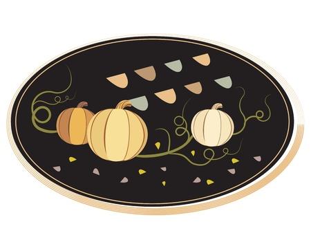 illustration of vintage frame with pumpkins isolated on white background Illustration