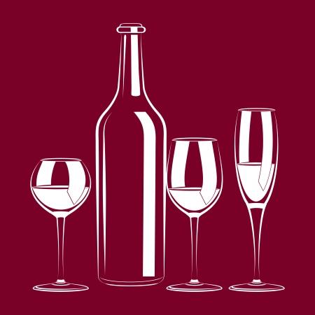 ビンテージ静物ボトル、ガラス、ワインおよびブドウのイラスト  イラスト・ベクター素材