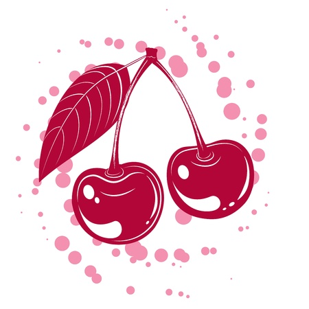 Tasty vector illustration of cherry isolated on white