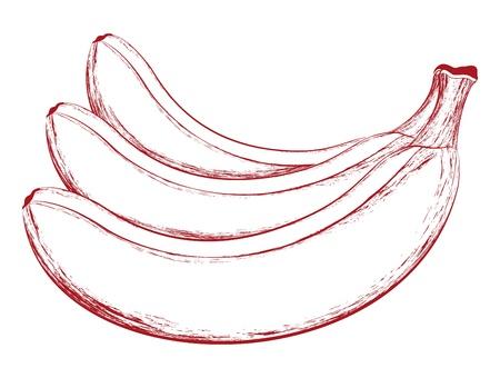 Smakelijke vector bananen illustratie op wit wordt geïsoleerd Stock Illustratie