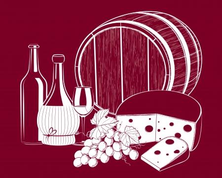 Vector druif wijn met kaas geïsoleerd op achtergrond Stock Illustratie