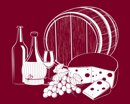 Vector grape wine with cheese isolated on background Illustration