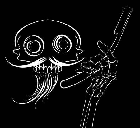 straight razor:  skull barber tshirt design on the black background Illustration