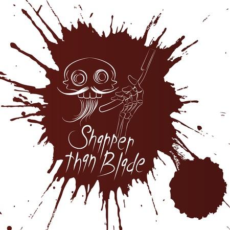 cutthroat:  skull barber tshirt design on the blood background