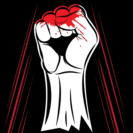 control of body movement:  fist held in protest on the black background Illustration