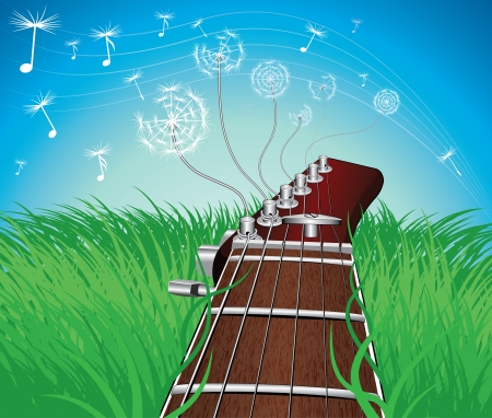 guitar with dandelion on the grass Stock Vector - 16832286