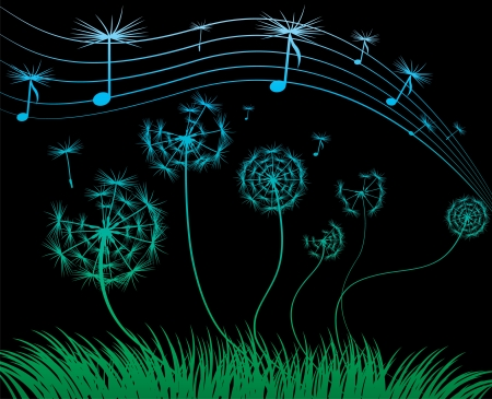 dandelion music sheet on the black background Иллюстрация