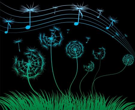 peaceful background:  dandelion music sheet on the black background Illustration