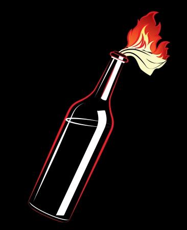 cocktail molotov op de zwarte achtergrond Stock Illustratie
