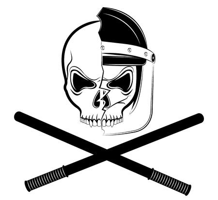 Een kleur politieagent schedel in gebroken helm Stock Illustratie