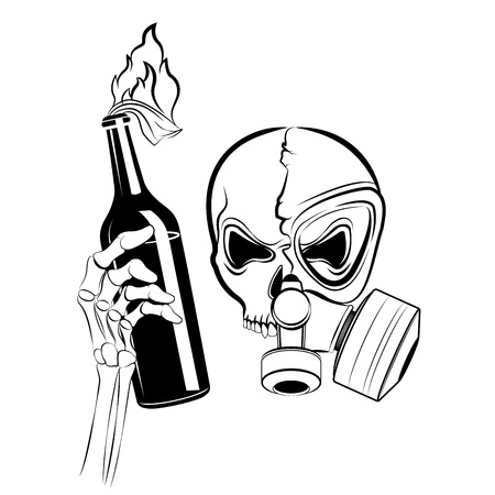 schedel in gasmasker met molotov coctail