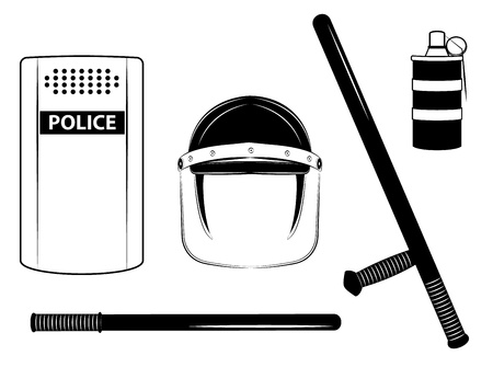 riot: One color  police set isolated on the white background Illustration