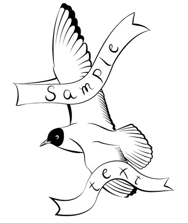 wingspan: Flying seagull with text ribbon vector illustration