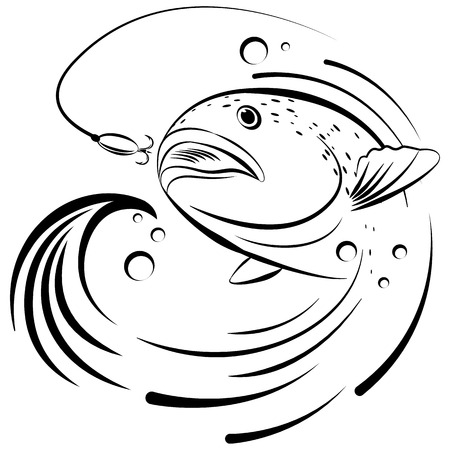 salmon fishing: Fish jumping out of the water to grab the bait vector illustration
