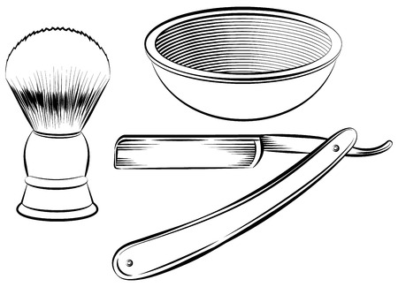 straight razor: Vintage barber shaving set vector illustration