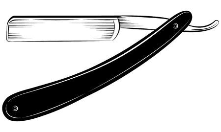 ストレートかみそりでは白い背景ベクトル図  イラスト・ベクター素材
