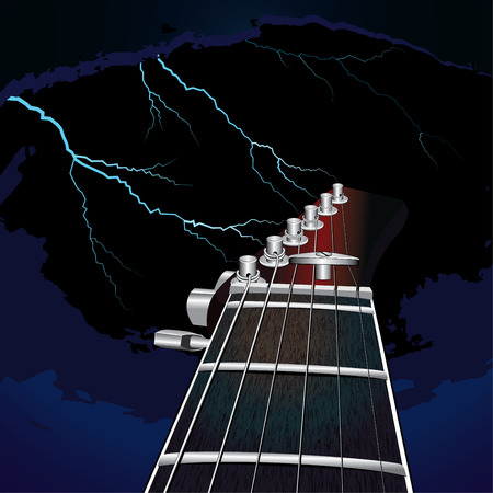 guitar neck: Guitar on a background of the sky with lightning vector illustration