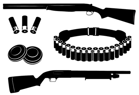 bullet icon: Set of vector shotgun and hunting equipment illustration