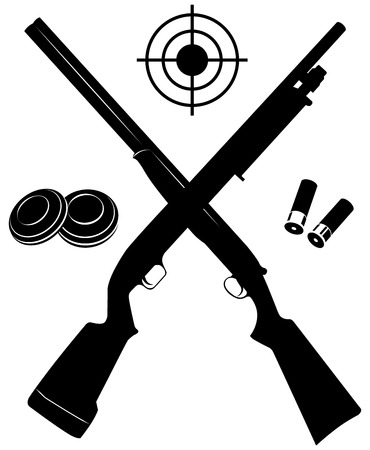 cazador: Objetivo del vector con dos escopetas y municiones y placas ilustración vectorial Vectores