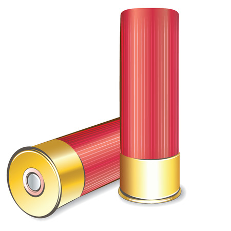 白い背景の分離ベクトル散弾銃シェル  イラスト・ベクター素材