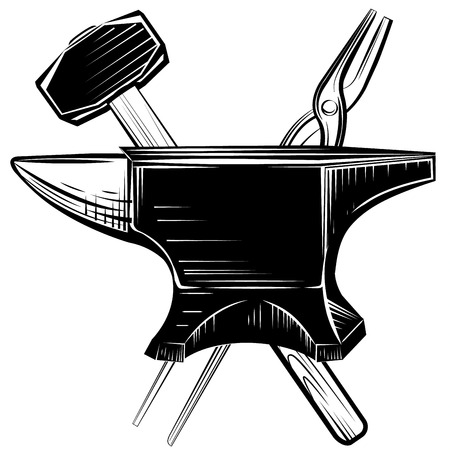 casts: Vector blacksmith anvil on white background